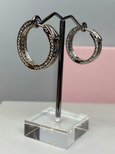 Sterling Silver Hoop & CZ Earrings