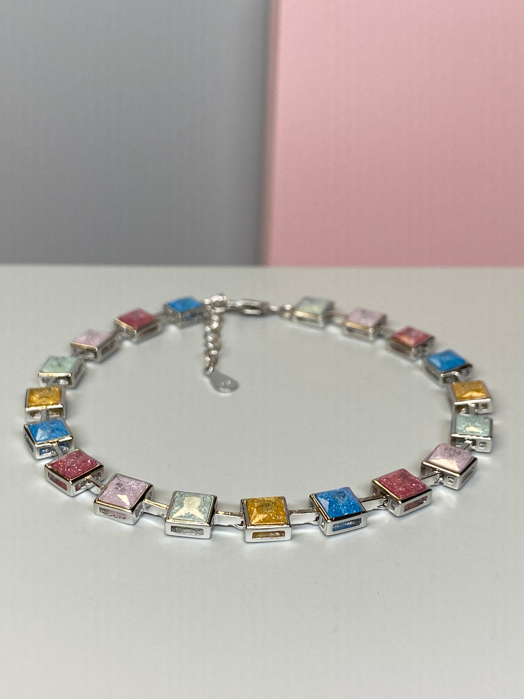 Silver Multicoloured Stones Bracelet