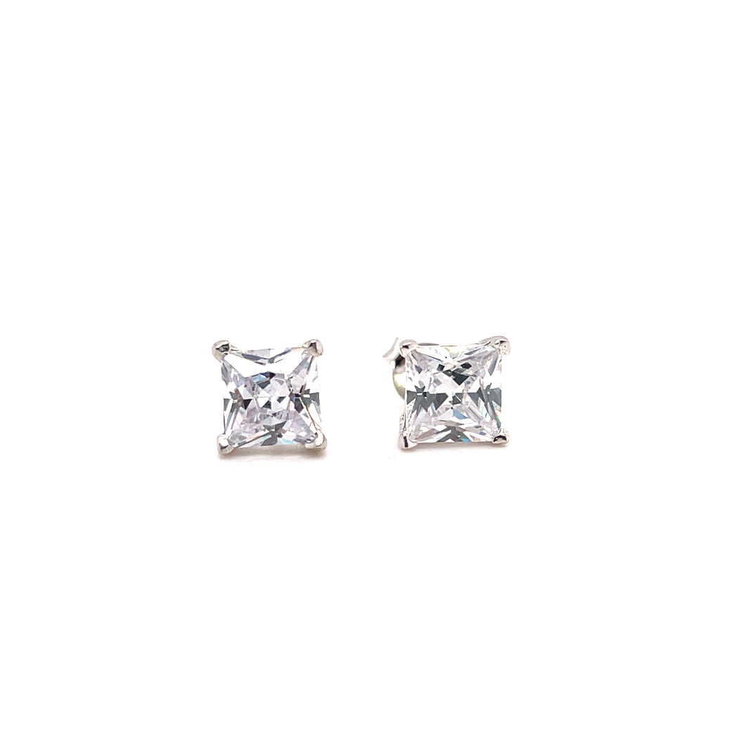 Sterling Silver Square CZ Stud Earrings - All Sizes
