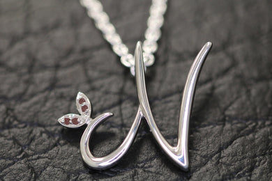 Silver Initial with Birthstone Detail - January