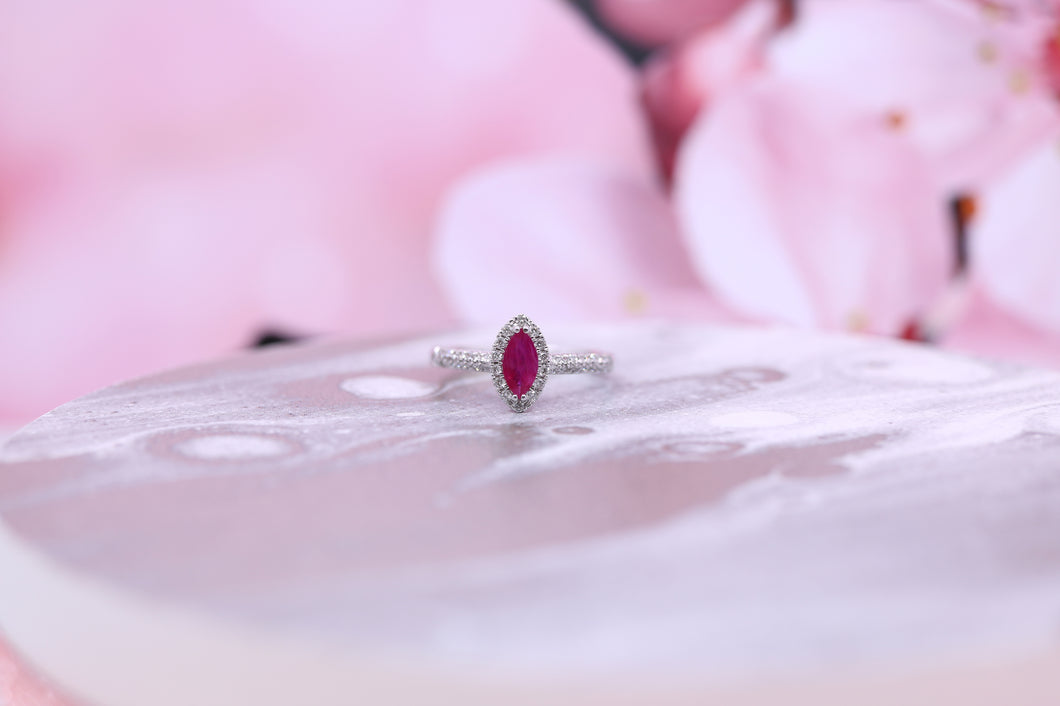 9ct White Gold Ruby & Diamond Ring 0.33ct - W1834