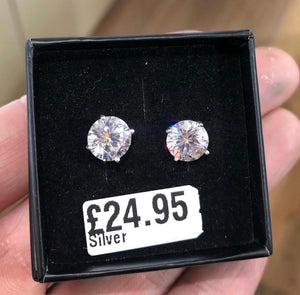 Sterling Silver CZ Studs - 8mm