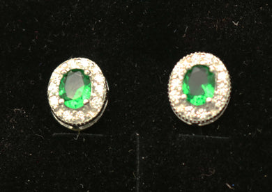 Oval Green CZ Earrings