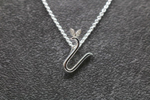 Silver Initial with Birthstone Detail - April