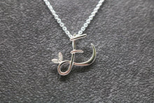 Load image into Gallery viewer, Silver Initial with Birthstone Detail - April