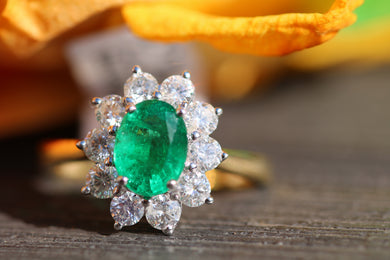 18ct Yellow Gold Emerald & Diamond  - HJ099
