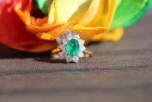Load image into Gallery viewer, 18ct Yellow Gold Emerald & Diamond  - HJ099