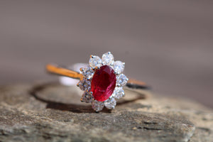 18ct White Gold Ruby & Diamond  - HJ098