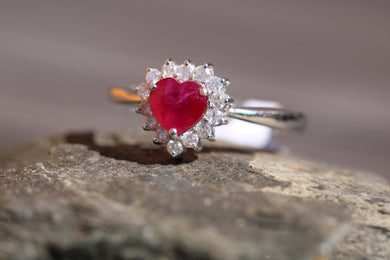 14ct White Gold Ruby & Diamond - HJ090