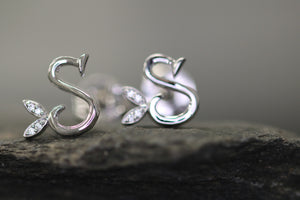 Silver Initial Earrings with CZ Detail