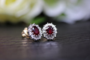 9ct Yellow Gold Ruby & Diamond Earrings - HJ2044