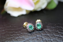 Load image into Gallery viewer, 9ct Yellow Gold Emerald & Diamond Earrings - HJ2042