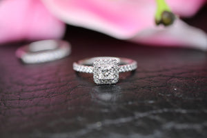 18ct White Gold Diamond Bridal Ring Set 1.00ct - HJ2045