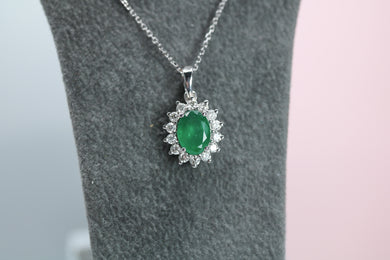 18ct White Gold Emerald & Diamond Necklace- HJ2059