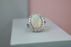 18ct White Gold Diamond & Opal Cluster Ring - HJ2074