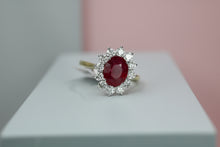 Load image into Gallery viewer, 18ct Yellow Gold Diamond & Ruby Cluster Ring - HJ2076