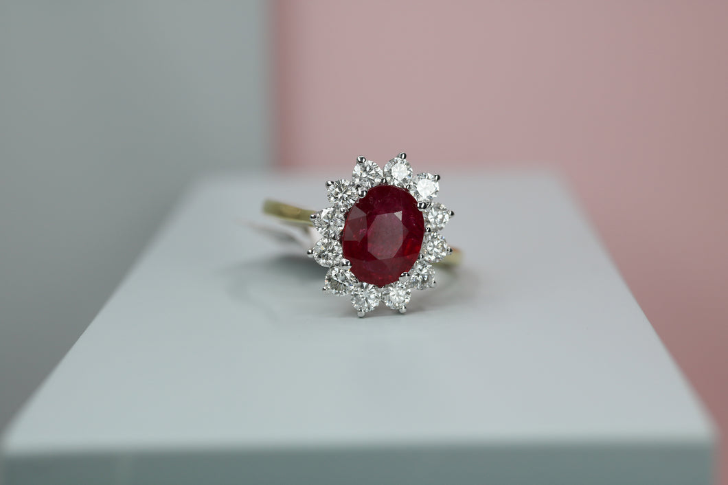 18ct Yellow Gold Diamond & Ruby Cluster Ring - HJ2076