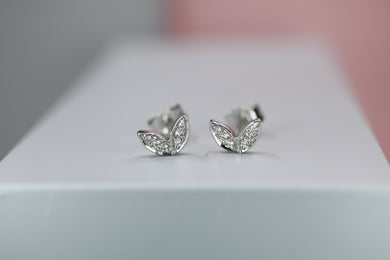 Silver & Diamond Winged Studs