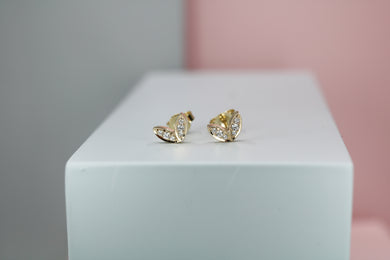 9ct Yellow Gold & Diamond Winged Studs
