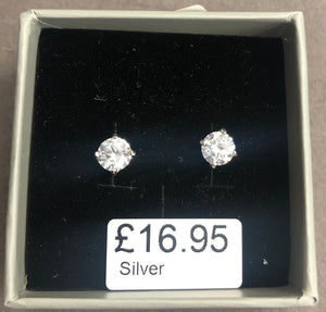 Sterling Silver CZ Studs - 4mm