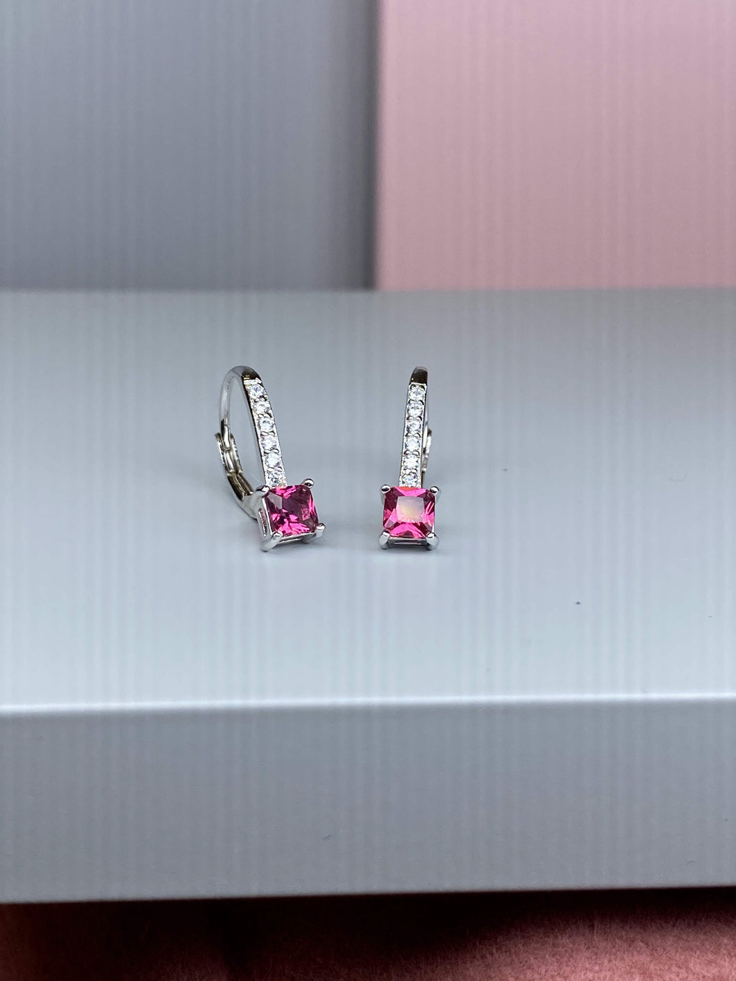 Sterling Silver Pink & White CZ Drop Earrings