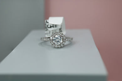 Platinum Diamond Engagement Ring with Halo 1.32ct - HJ2110