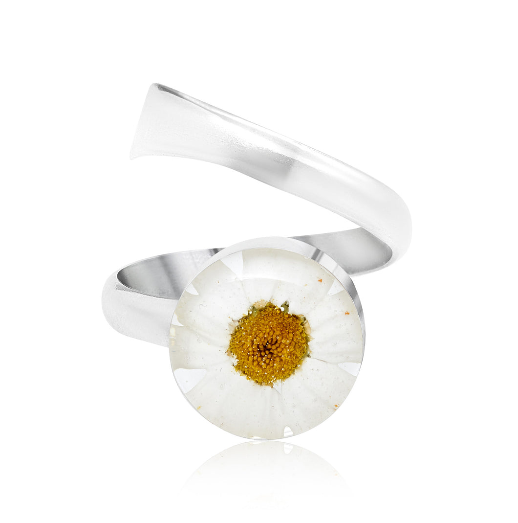 Flower ring - Sterling silver adjustable size ring- Made with real flowers