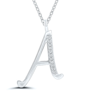 Diamond Initial Pendant - 9ct White Gold