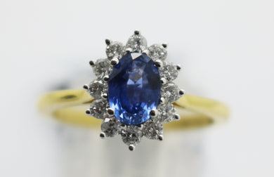 18ct Yellow Gold Diamond & Sapphire Cluster
