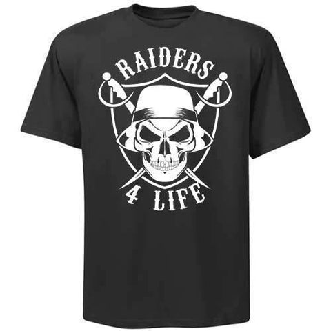 Cholo Skull & Shield Raiders 4 Life Tee Shirt