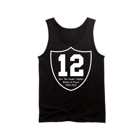 "RIP Ken ""the Snake"" Stabler Shield - Raiders 4 Life Tank Top"