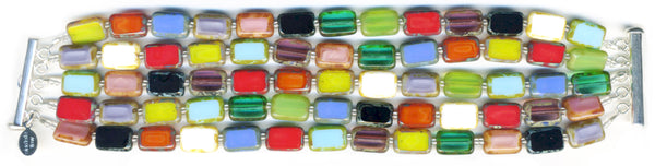 Stefanie Wolf Artisan Jewelry Rainbow Glass 5-Strand Bracelet Czech Glass Picasso Window