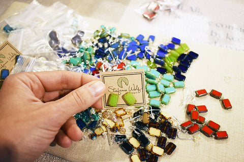 Making and shipping earrings at the studio