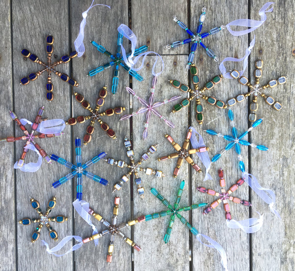 Stefanie Wolf Beaded Snowflake Ornaments Martha's Vineyard