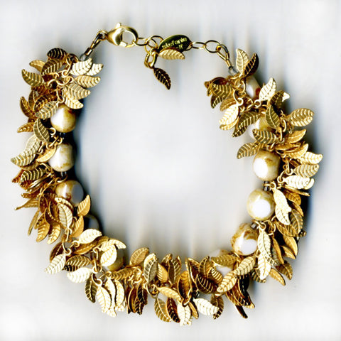 Martha's Vineyard Wedding Inspiration -- Stefanie Wolf Gold Leaf White Fringe Handmade Jewelry