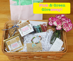 Pink and Green Weekend Mother's Day GIft Basket GIve Away Stefanie Wolf Not Your Sugar Mamas Martha's Vineyard