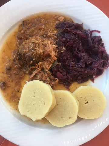 Roast pork with dumplings and cabbage (pečené vepřové s knedlíky a se zelím, colloquially vepřo-knedlo-zelo) is often considered the most typical Czech dish.