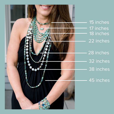 Necklace Length Chart - how to find the best length necklace for your top