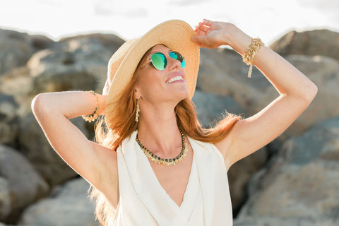 Necklace with deep plunging neckline