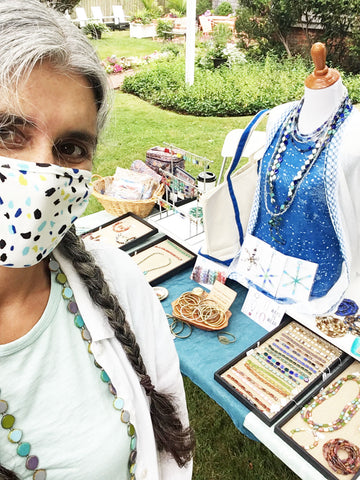 Stefanie Wolf Masked Selfie Edgartown Outdoor Trunkshow