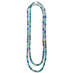 60-Inch Trilogy Necklace in Ocean Mix by Stefanie Wolf, Martha's Vineyard: Blue, sapphire, turquoise, navy, indigo, aqua, royal, denim
