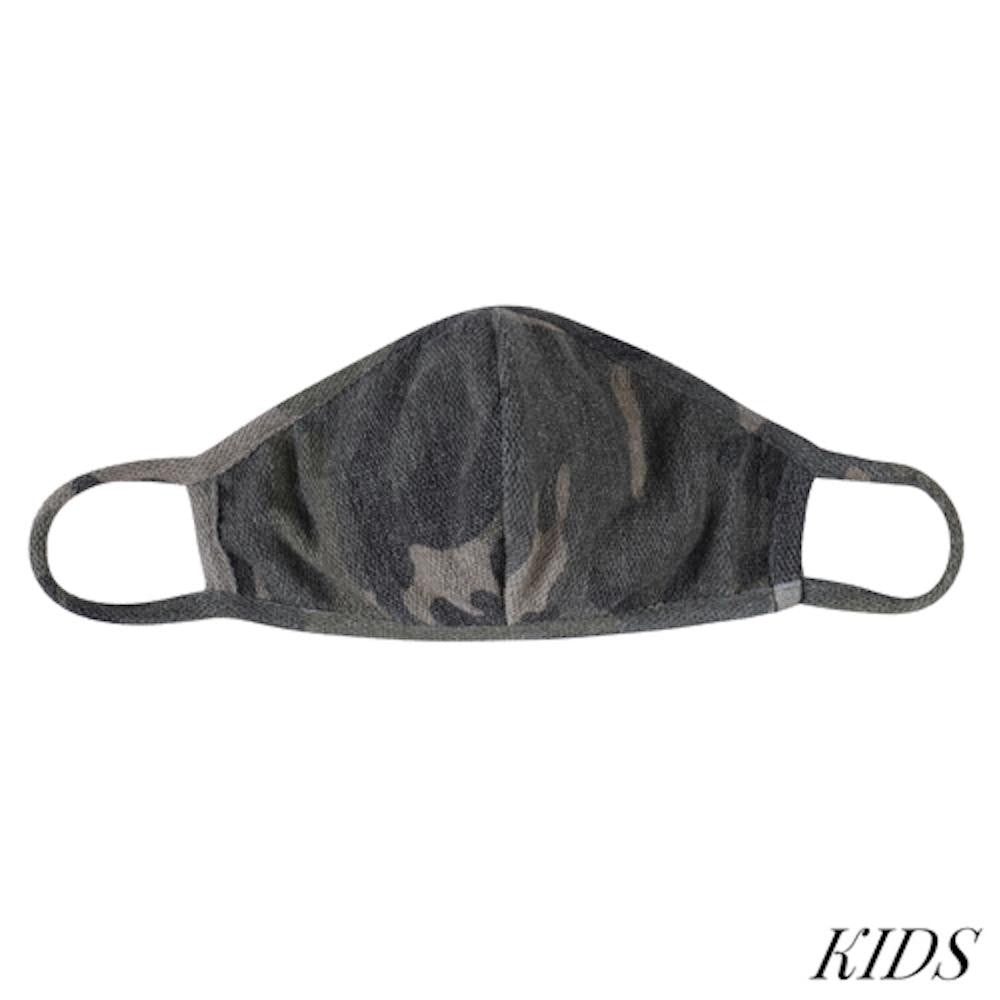 Kids Face Mask, Army Green Camouflage