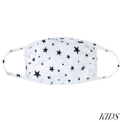 Kids Face Mask, Star Print, Ivory