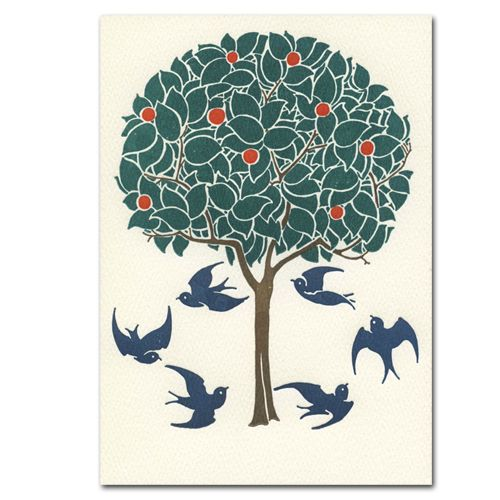 Handmade Letterpress Card, Tree and Swallows, Blank Inside