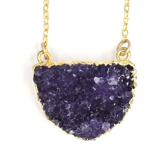 Amethyst Druzy Half Moon Pendant Necklace, On Gold, Limited Edition