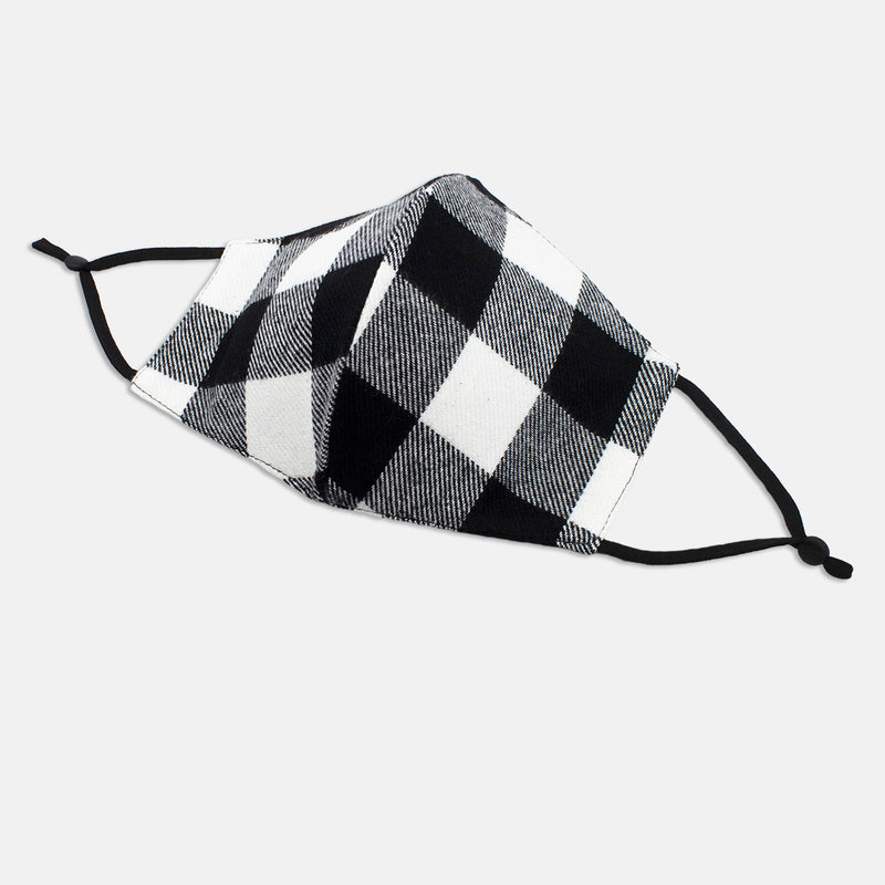 Adjustable Cotton Face Mask, Adjustable Black and White Buffalo Plaid