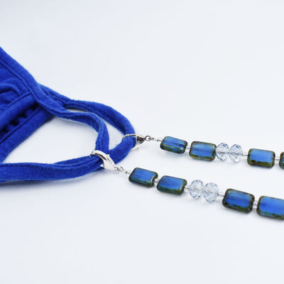 Face Mask Beaded Chain, Mask Lanyard Jewelry, Indigo Glass with Crystals