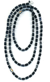 Crystal Trilogy Necklace in Matte Black with Hematite Glass Crystals, 60""