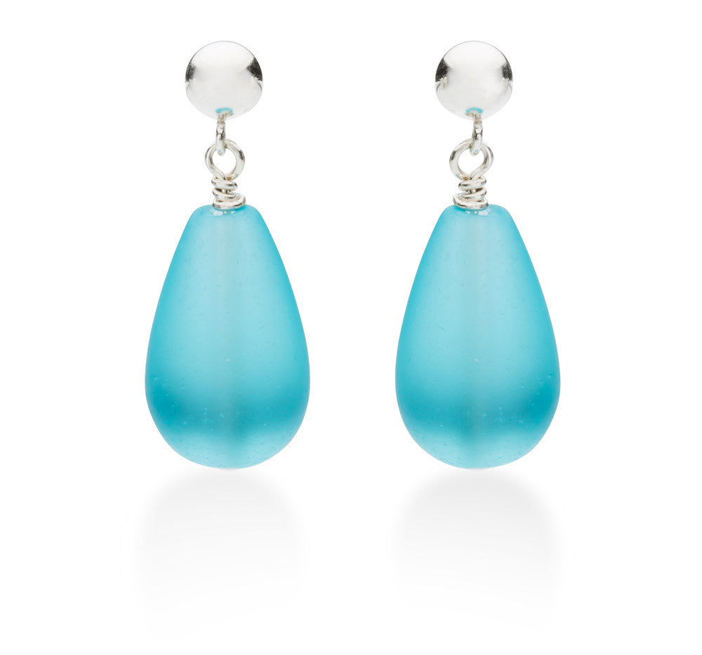 Seaglass Drop Earrings, Azul