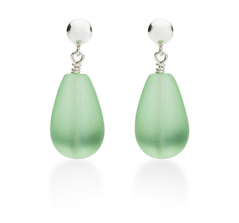 Seaglass Drop Earrings, Green